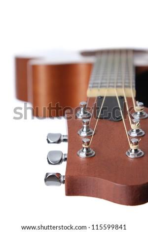 Acoustic Guitar made of Cedar and Mahogany wood. - stock photo