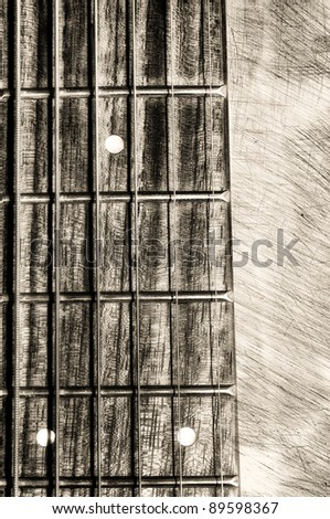 Acoustic guitar neck fingerboard on textured background