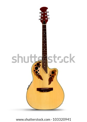 Acoustic Guitar on the white background - stock photo