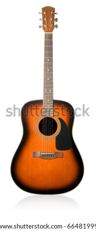 Acoustic guitar on white background (isolated with path). - stock photo