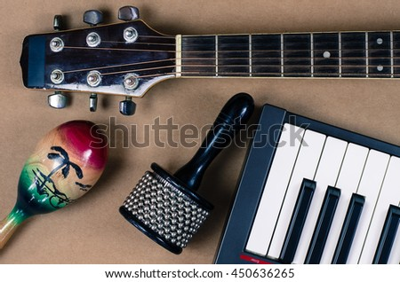 Acoustic guitar Percussion Accessories music - stock photo