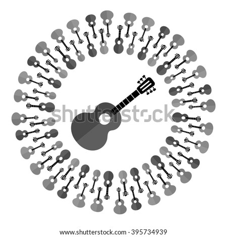 Acoustic Guitar Silhouette - stock photo