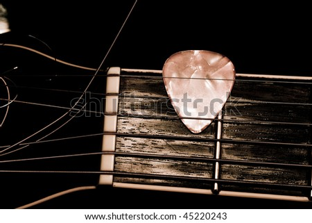 Acoustic guitar strings close up - stock photo