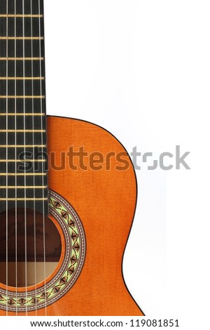 Acoustic guitar wallpaper isolated on white background for poster design - stock photo