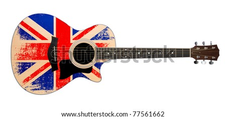 acoustic guitar with british flag clipping path - stock photo