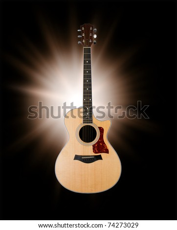 acoustic guitar with clipping path