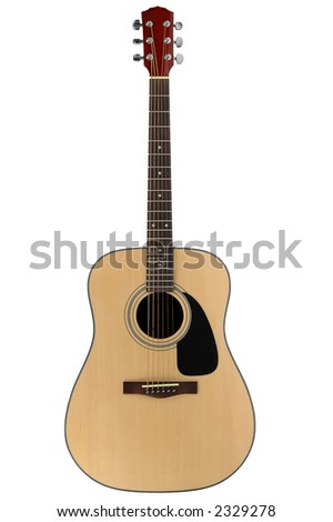 Acoustic guitar with clipping path on a white background - stock photo