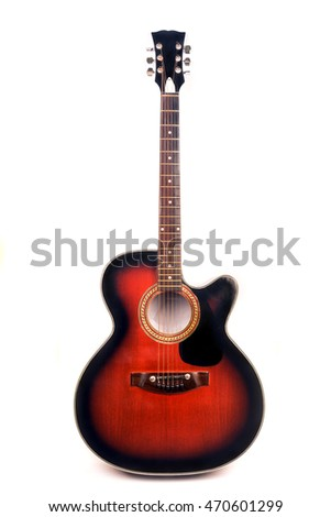 Acoustic Jumbo cowboy guitar in red sunburst color isolated over white background