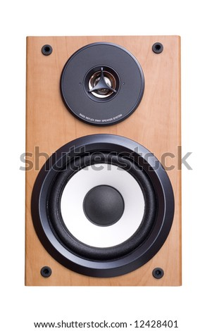 Acoustic sound system with two speakers wood case. Isolated on white, clipping path included. - stock photo