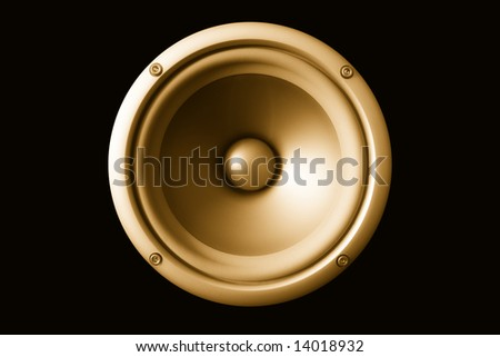 Acoustic speaker, isolated on a black background.