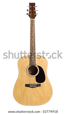 Acoustic 6-string guitar isolated on white