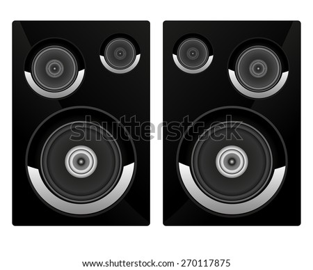 Acoustic system. Isolated on white background. Raster version - stock photo