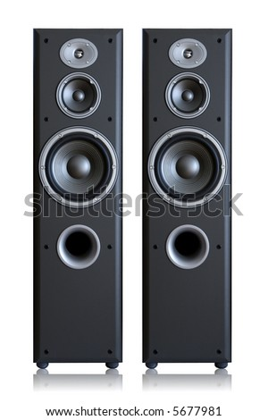 Acoustic system isolated vertically - stock photo