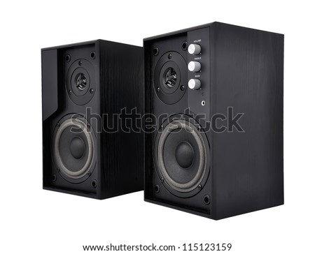 Acoustic system on a white background - stock photo