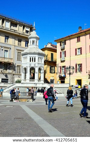 "ACQUI TERME, PIEDMONT, ITALY, APRIL 25- the pedestrianized Old Town and the fountain ""la bollente"" - April 25 2016 in Acqui Terme, Piedmont, Italy"