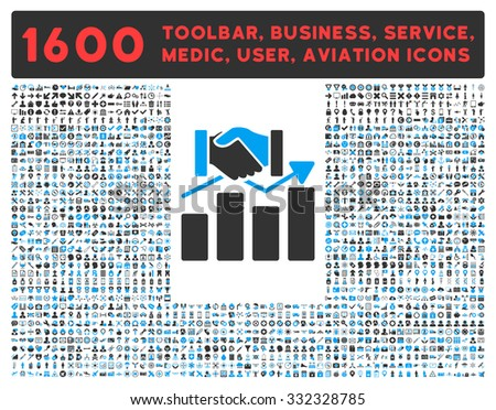 Acquisition Graph raster icon and 1600 other business, service tools, medical care, software toolbar, web interface pictograms. Style is bicolor flat symbols, blue and gray colors, rounded angles - stock photo