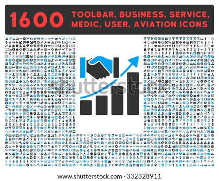 Acquisition Growth raster icon and 1600 other business, service tools, medical care, software toolbar, web interface pictograms. Style is bicolor flat symbols, blue and gray colors, rounded angles - stock photo