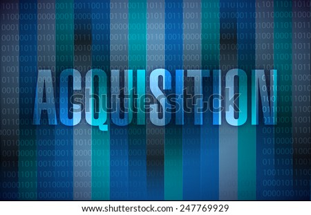 acquisition sign illustration design over a binary background - stock photo