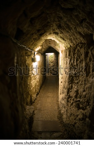 Acre, Israel - Templar tunnel. Acre (Akko, Akre) is a city in the northern coastal plain region of northern Israel at the northern extremity of Haifa Bay.