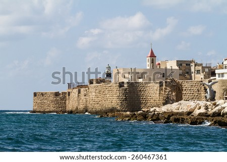 Acre seen from the sea, Israel - stock photo