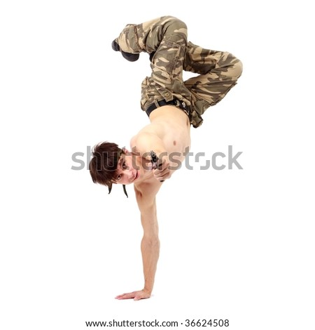acrobat man with gun on a white background - stock photo