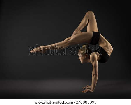 Acrobat Performer, Circus Woman Hand Stand, Gymnastics Back Bend Pose - stock photo