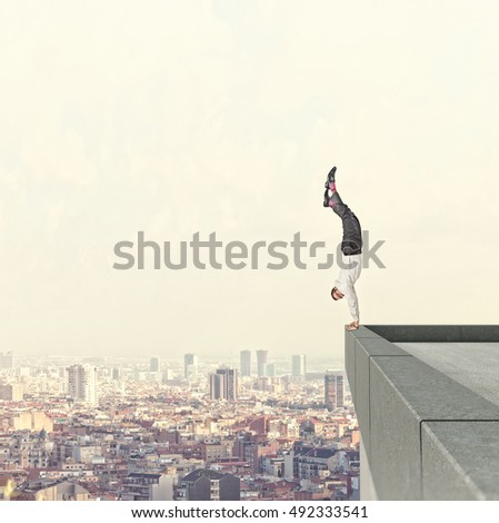 acrobat worker and town background