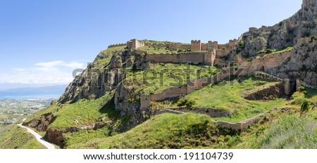 Acrocorinth fortress, Peloponnese, Greece - stock photo