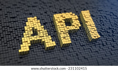 Acronym 'API' of the yellow square pixels on a black matrix background - stock photo