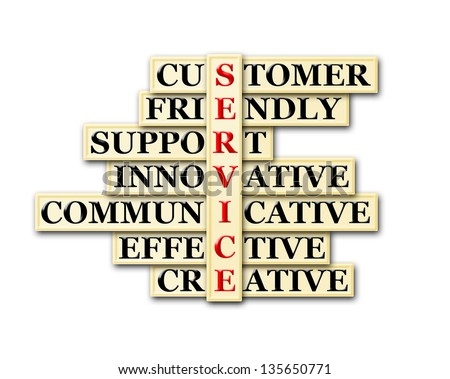 acronym concept of Service  and other releated words - stock photo