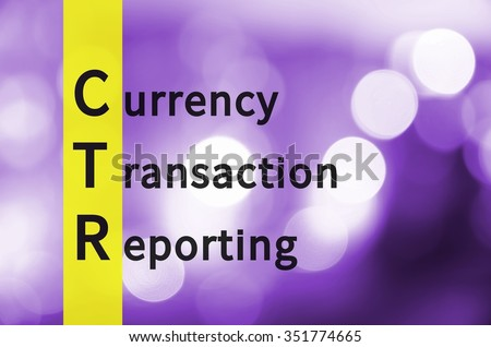 Acronym CTR as Currency Transaction Reporting. Violet background with defocus-ed lights.