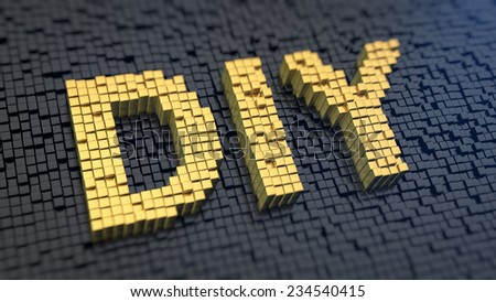 Acronym 'DIY' of the yellow square pixels on a black matrix background - stock photo