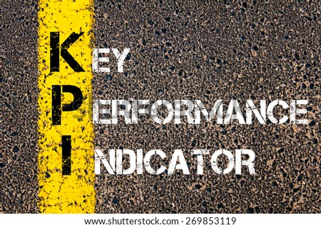 Acronym KPI - Key Performance Indicator. Business Conceptual image with yellow paint line on the road over asphalt stone background. - stock photo