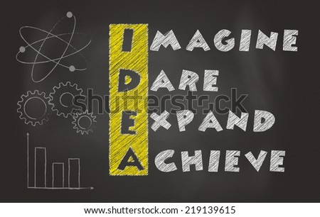 Acronym Of Idea Over Black Chalkboard, Imagine, Dare, Expand, Achieve - stock photo