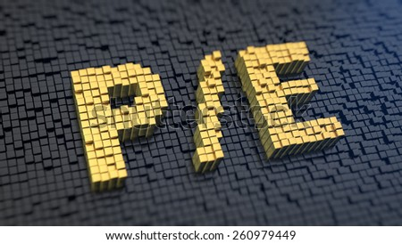 Acronym 'P/E' of the yellow square pixels on a black matrix background. Stock market parameter concept. - stock photo