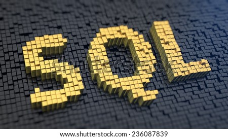 Acronym 'SQL' of the yellow square pixels on a black matrix background. Database operations concept. - stock photo