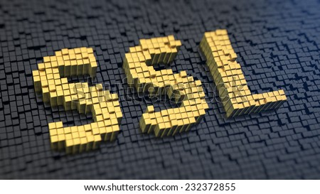 Acronym 'SSL' of the yellow square pixels on a black matrix background. Internet security concept. - stock photo