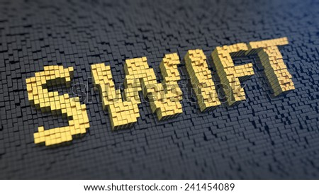 Acronym 'SWIFT' of the yellow square pixels on a black matrix background. Bank payment order system - stock photo