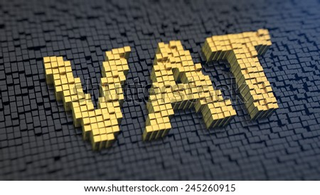 Acronym 'VAT' of the yellow square pixels on a black matrix background. A value-added tax (VAT) is a tax on the purchase price. - stock photo