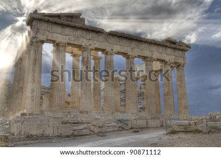 Acropolis and parthenon Athens Greece - stock photo