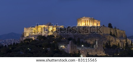 Acropolis and parthenon during sunset, Athens, Greece