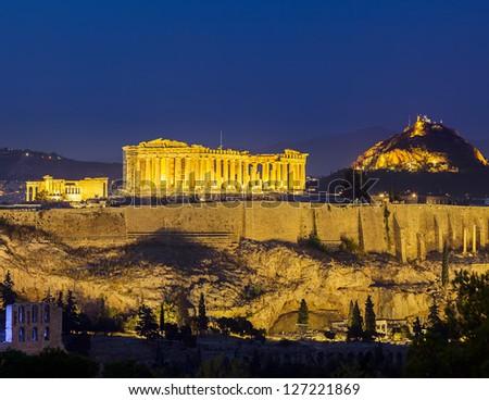 Acropolis at night, Athens, Greece - stock photo