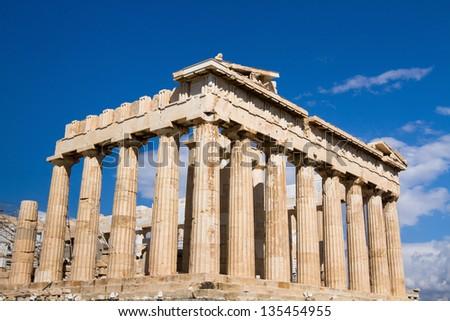 Acropolis in Athens, Parthenon, main landmark of Greece - stock photo