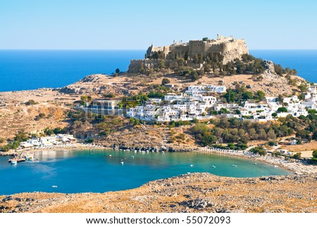 Acropolis in the ancient greek town Lindos, Rhodes island, Greece - stock photo