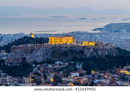 Acropolis of Athens at night. View from Mount Lycabettus - stock photo