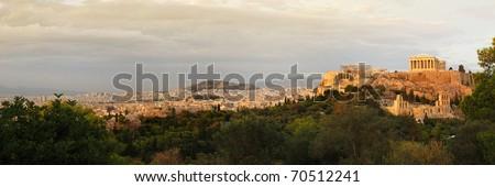 acropolis panoramic view - stock photo