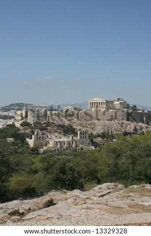 acropolis the parthenon herodion theater and erechthion view of famous landmarks of athens greece