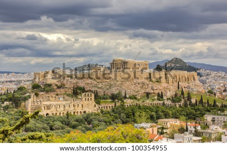 Acropolis under a dramatic sky, Athens, Greece - stock photo