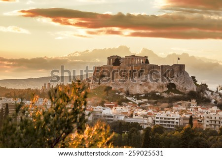 Acropolis with Parthenon temple in Athens,  Greece - stock photo