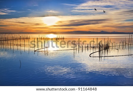 across the blue lake - stock photo